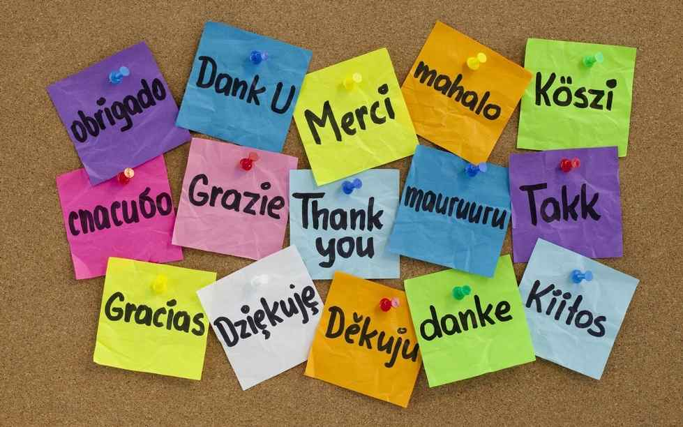 thank you in many languages on post it notes